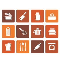 Flat kitchen and household utensil icons vector