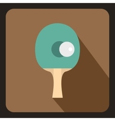 Table tennis racket with ball icon flat style vector