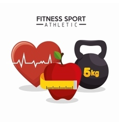 Fitness sport athletics heart apple barbell vector