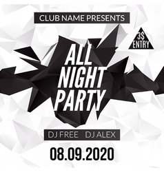 Night dance party design template in polygonal vector