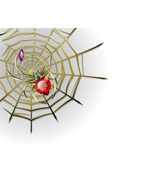 white background with jewelry spider on the gold vector image