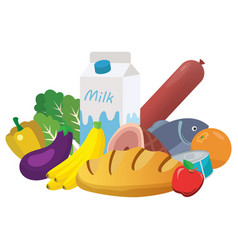 Everyday goods and food products vector
