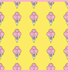 colorful seamless pattern of ice cream in pop art vector image