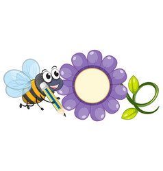 bee and purple flower vector image
