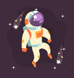 Astronaut in space suit working in open space vector