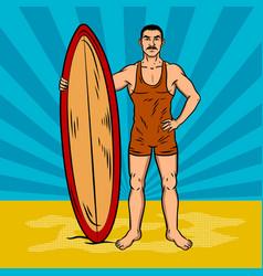 old fashioned surfer pop art vector image