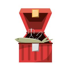fisherman box isolated vector image