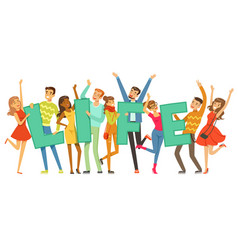 Group of smiling people holding the word life vector