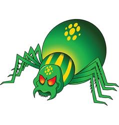 Green spider cartoon vector