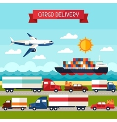 Freight cargo transport background in flat design vector