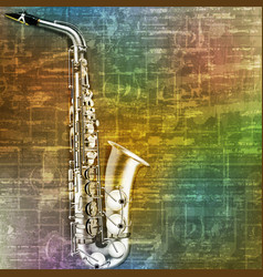 Abstract green music grunge background saxophone vector