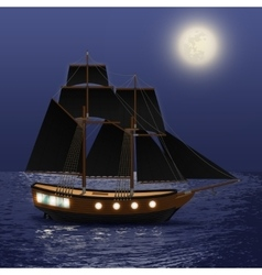 Night sea background vector