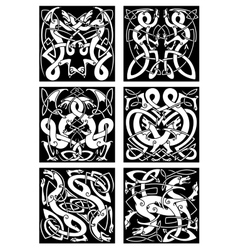 Celtic knot patterns with tribal dragons vector