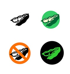 Soy bean icon with variations black green and red vector