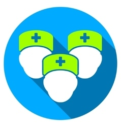 Medical staff flat round icon with long shadow vector