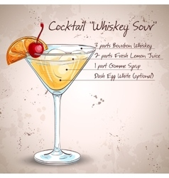 Cocktail whiskey sour vector