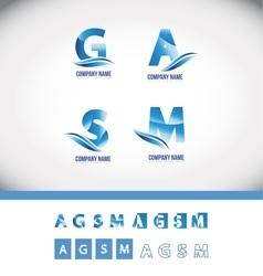 Blue alphabet letter logo icon set vector