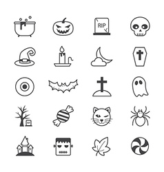 Halloween party icons line vector