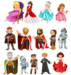 Different characters of king and queen vector