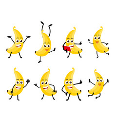 banana fruits cartoon character vector image
