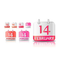 calendar icon on february 14th vector image vector image