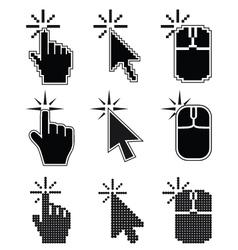 Click here mouse cursors set vector