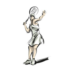 Color line sketch woman playing tennis vector