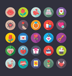 colourful flat icons set of love and valentine vector image