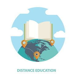 Distance education and online learning flat design vector