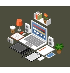 Flat isometric workspace office laptop vector