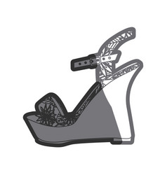 Gray thick contour of sandal shoe with platform vector