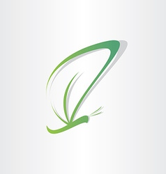 green butterfly stilyzed symbol vector image