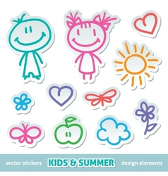 hand drawn kids vector image