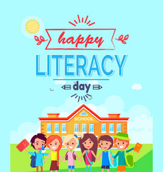 Happy literacy day colorful vector