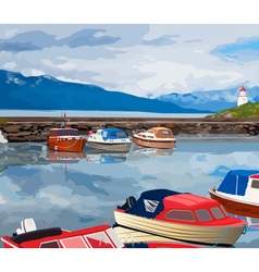 Harbour with boats vector