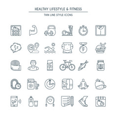 healthy lifestyle thin line icons vector image vector image