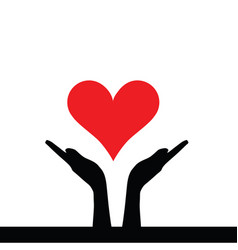 heart in hands help vector image