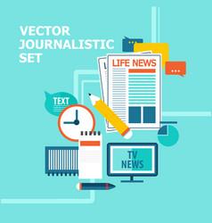 Mass media broadcasting news set vector