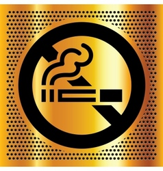 No smoking symbol on a gold backdrop vector image