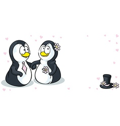 Penguins in love - wedding card - isolated o vector image
