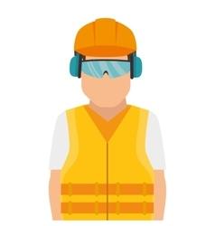 Repairman character working with ear cap vector