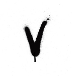 sprayed v font graffiti with leak in black vector image vector image
