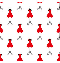 tailor mannequin in red dress seamless pattern vector image