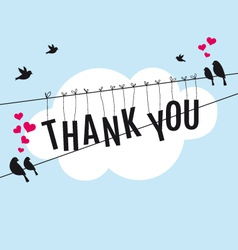 thank you with birds in the sky vector image