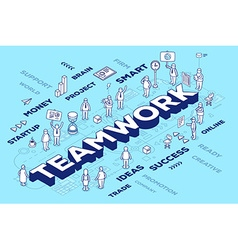 three dimensional word teamwork with peop vector image vector image