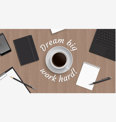 top view workplace witn coffe vector image vector image