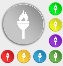 Torch icon sign symbol on eight flat buttons vector