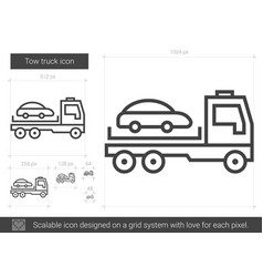 Tow truck line icon vector