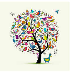 Tree with birds sketch for your design vector