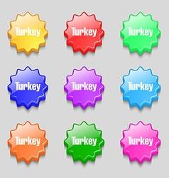 Turkey icon sign symbol on nine wavy colourful vector